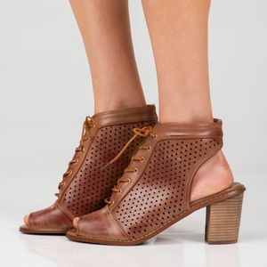 Distressed Cognac Lace Up Booties